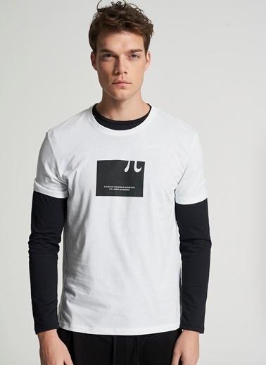 Pi π Baskı Detaylı Tişört Beyaz